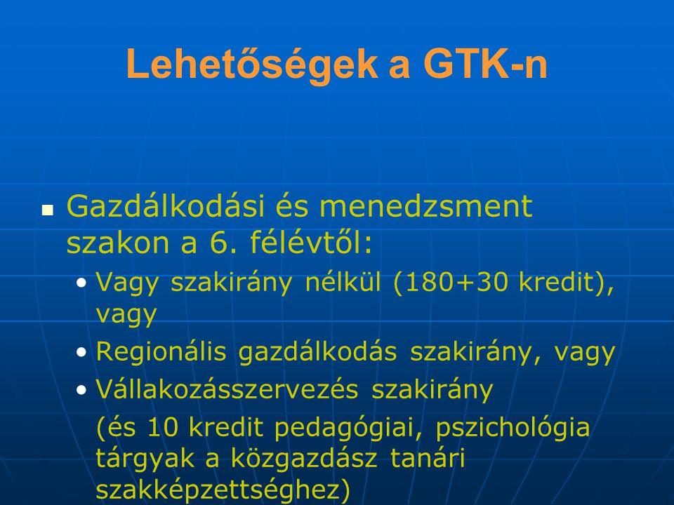 Lehetőségek a GTK-n Gazdálkodási és menedzsment szakon a 6. félévtől: