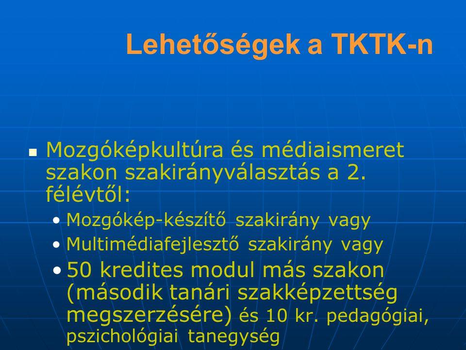 Lehetőségek a TKTK-n Mozgóképkultúra és médiaismeret szakon szakirányválasztás a 2. félévtől: Mozgókép-készítő szakirány vagy.