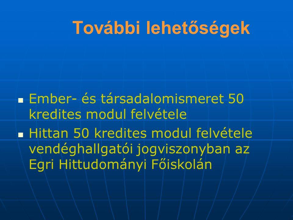 További lehetőségek Ember- és társadalomismeret 50 kredites modul felvétele.
