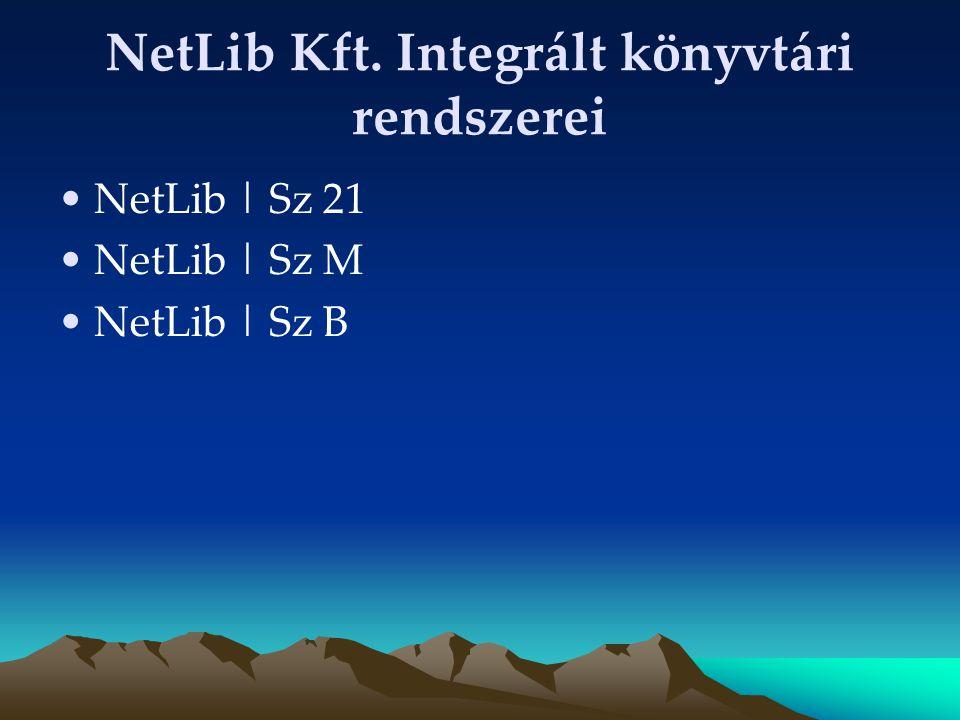 NetLib Kft. Integrált könyvtári rendszerei