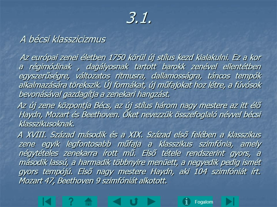 3.1. A bécsi klasszicizmus.