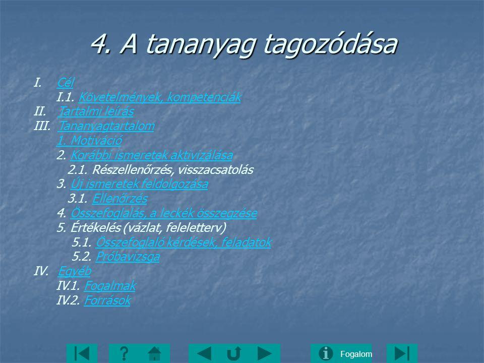 4. A tananyag tagozódása I. Cél I.1. Követelmények, kompetenciák