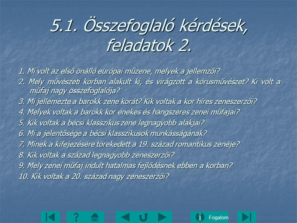 5.1. Összefoglaló kérdések, feladatok 2.