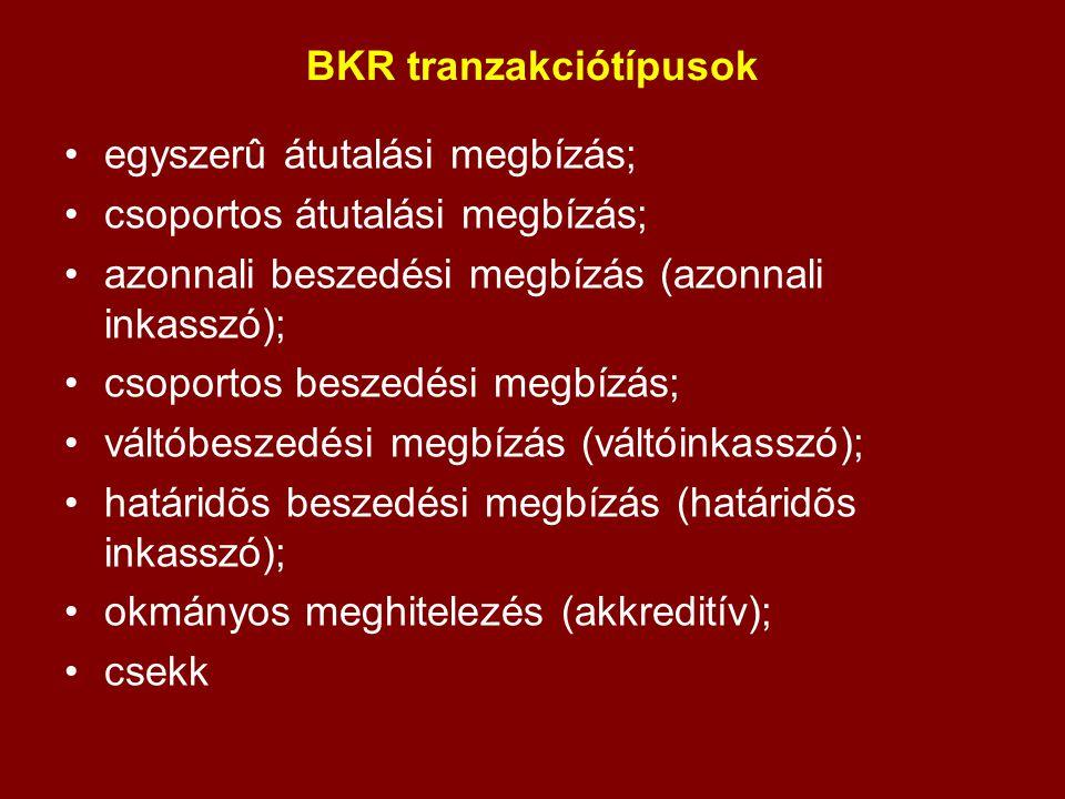 BKR tranzakciótípusok