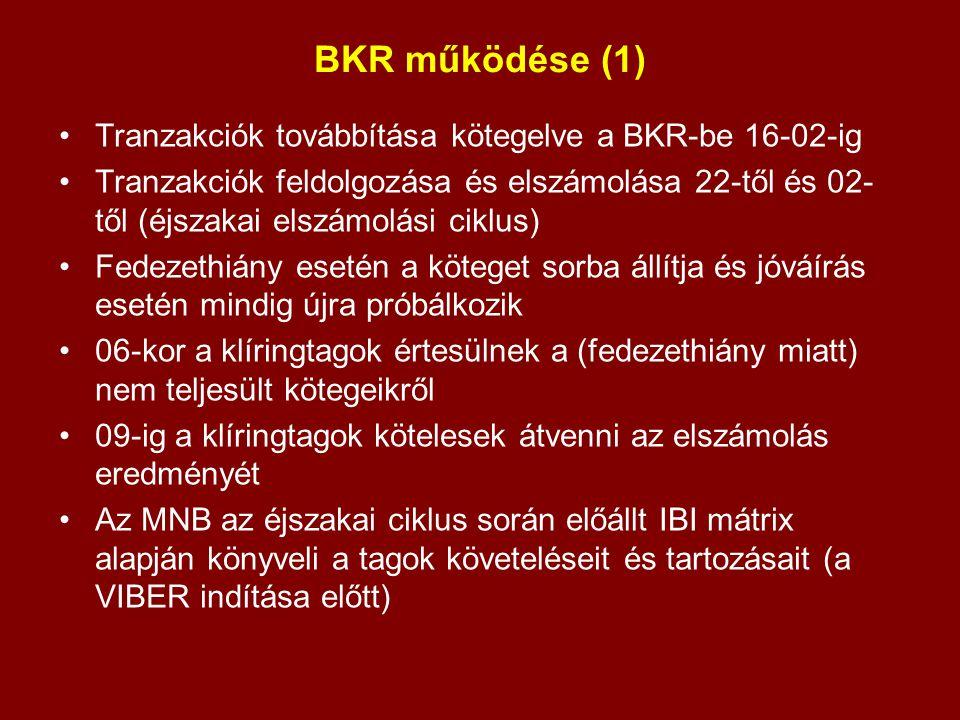 BKR működése (1) Tranzakciók továbbítása kötegelve a BKR-be 16-02-ig