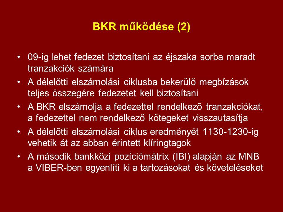 BKR működése (2) 09-ig lehet fedezet biztosítani az éjszaka sorba maradt tranzakciók számára.