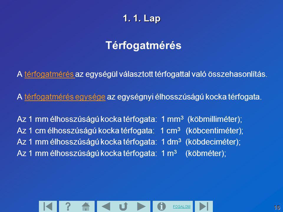 1. 1. Lap Térfogatmérés. A térfogatmérés az egységül választott térfogattal való összehasonlítás.