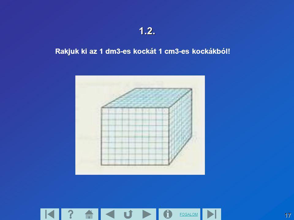 1.2. Rakjuk ki az 1 dm3-es kockát 1 cm3-es kockákból!