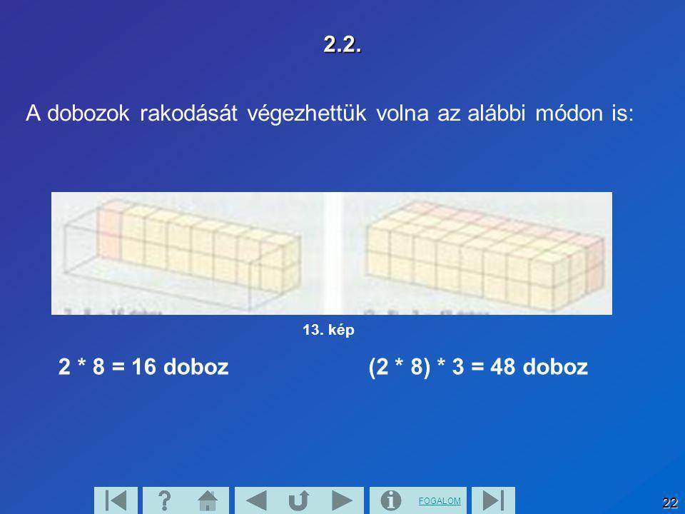 A dobozok rakodását végezhettük volna az alábbi módon is: