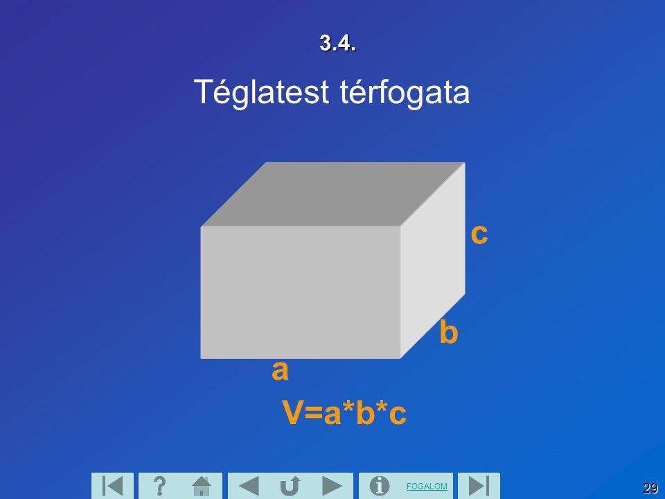 3.4. Téglatest térfogata V=a*b*c a b c