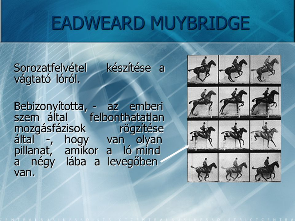 EADWEARD MUYBRIDGE Sorozatfelvétel készítése a vágtató lóról.