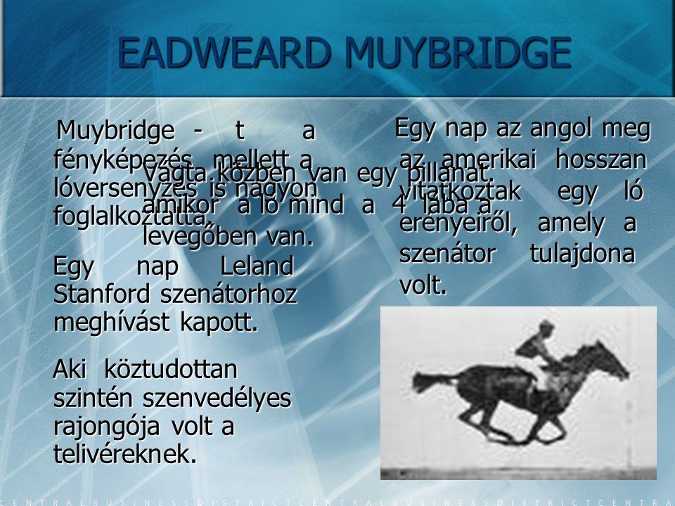 EADWEARD MUYBRIDGE Muybridge - t a fényképezés mellett a lóversenyzés is nagyon foglalkoztatta.