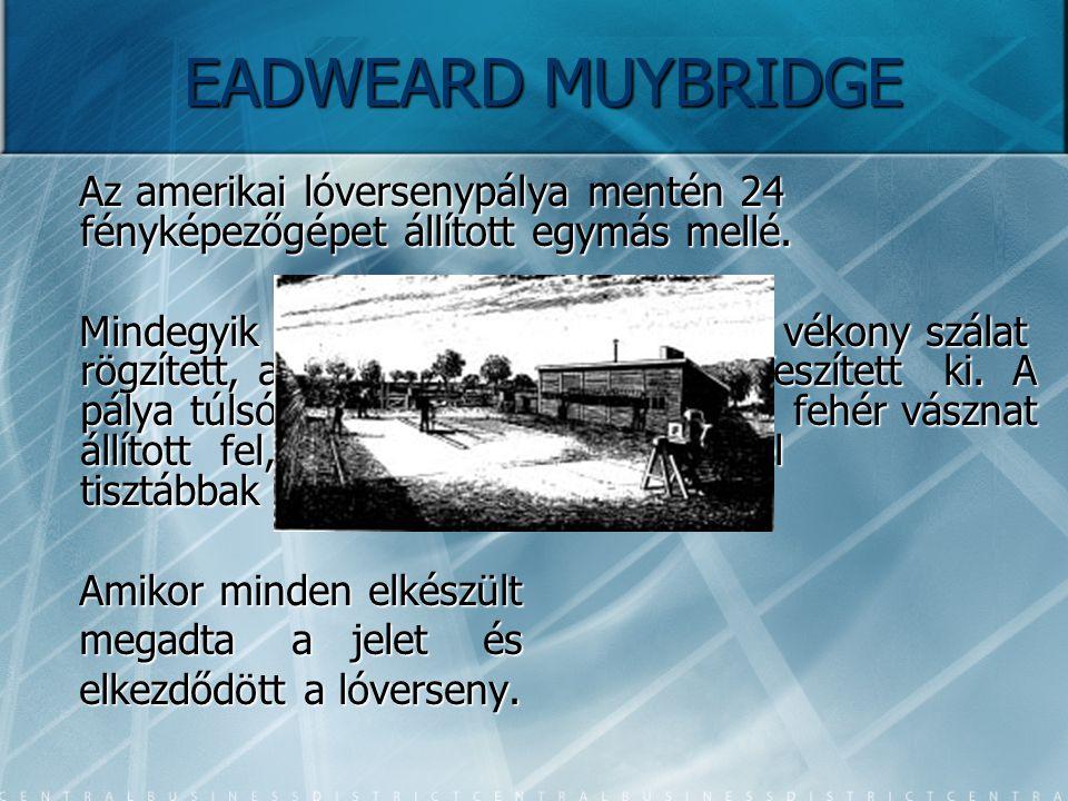 EADWEARD MUYBRIDGE Az amerikai lóversenypálya mentén 24 fényképezőgépet állított egymás mellé.