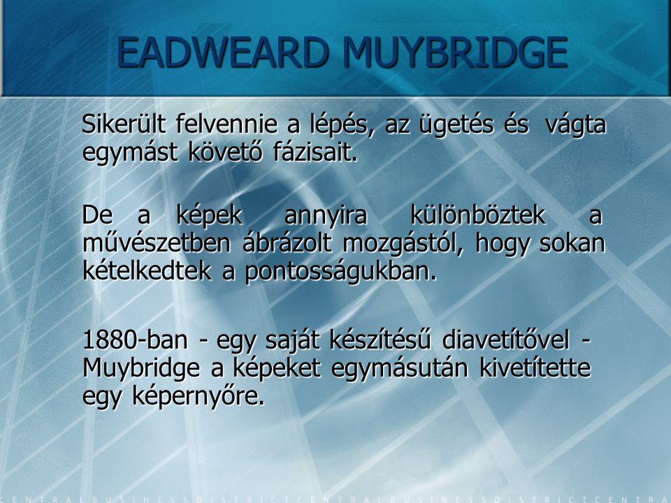 EADWEARD MUYBRIDGE Sikerült felvennie a lépés, az ügetés és vágta egymást követő fázisait.