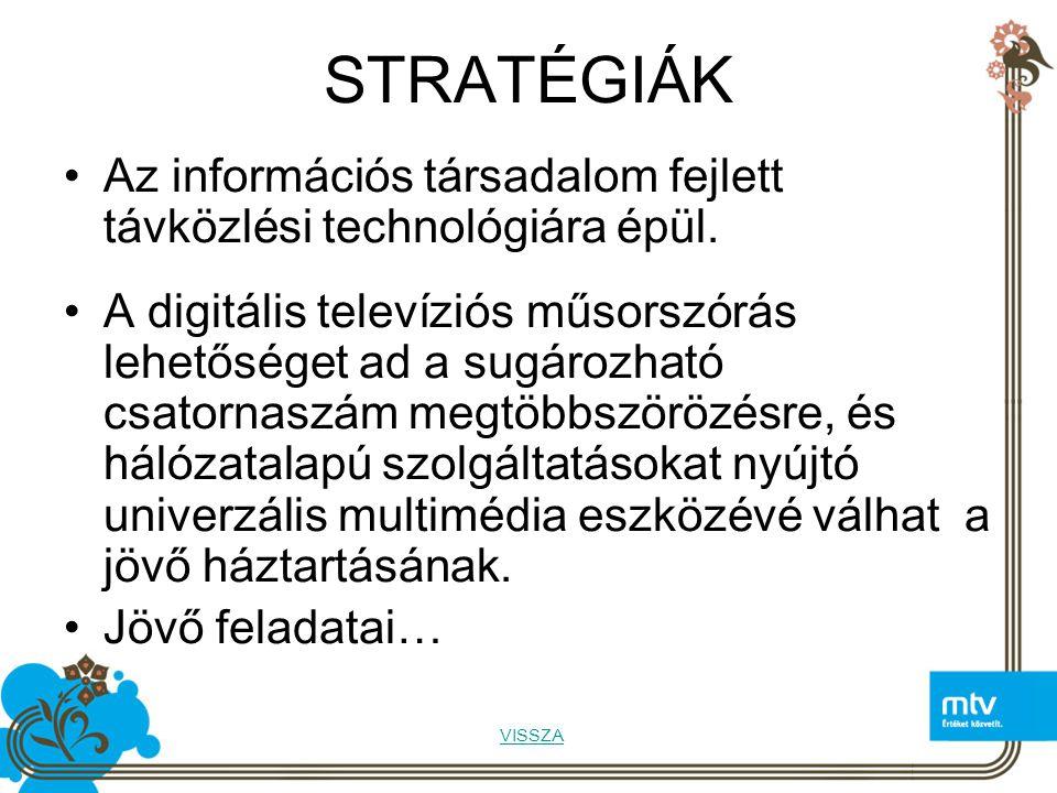 STRATÉGIÁK Az információs társadalom fejlett távközlési technológiára épül.