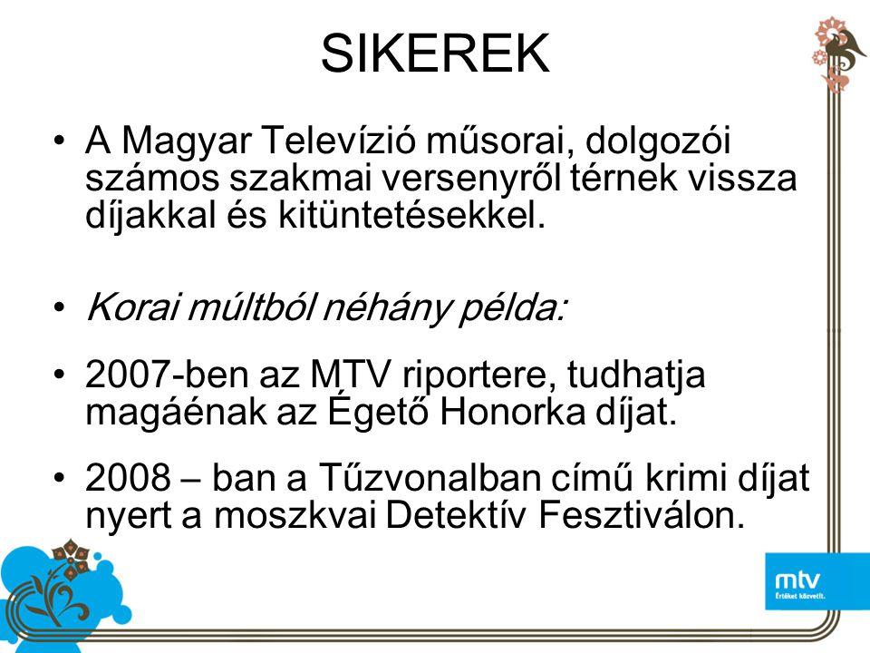 SIKEREK A Magyar Televízió műsorai, dolgozói számos szakmai versenyről térnek vissza díjakkal és kitüntetésekkel.