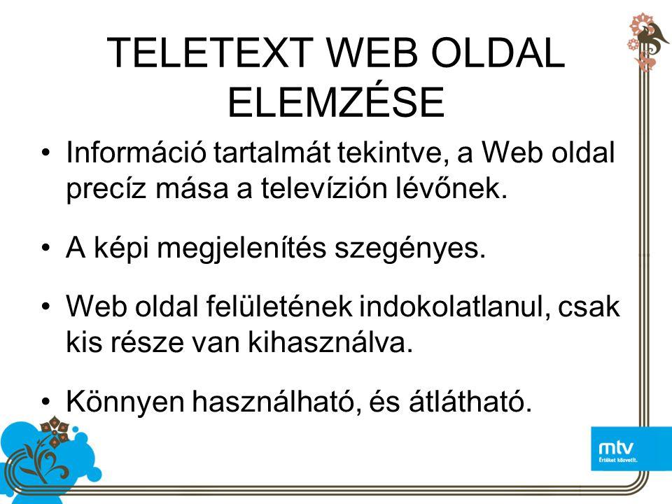TELETEXT WEB OLDAL ELEMZÉSE