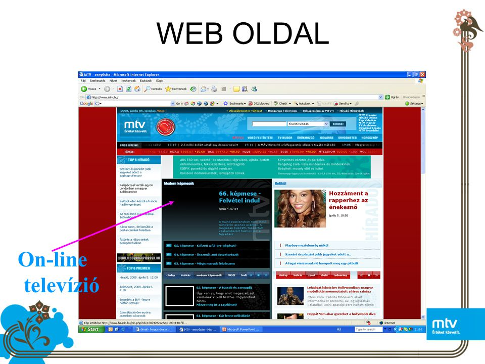 WEB OLDAL On-line televízió