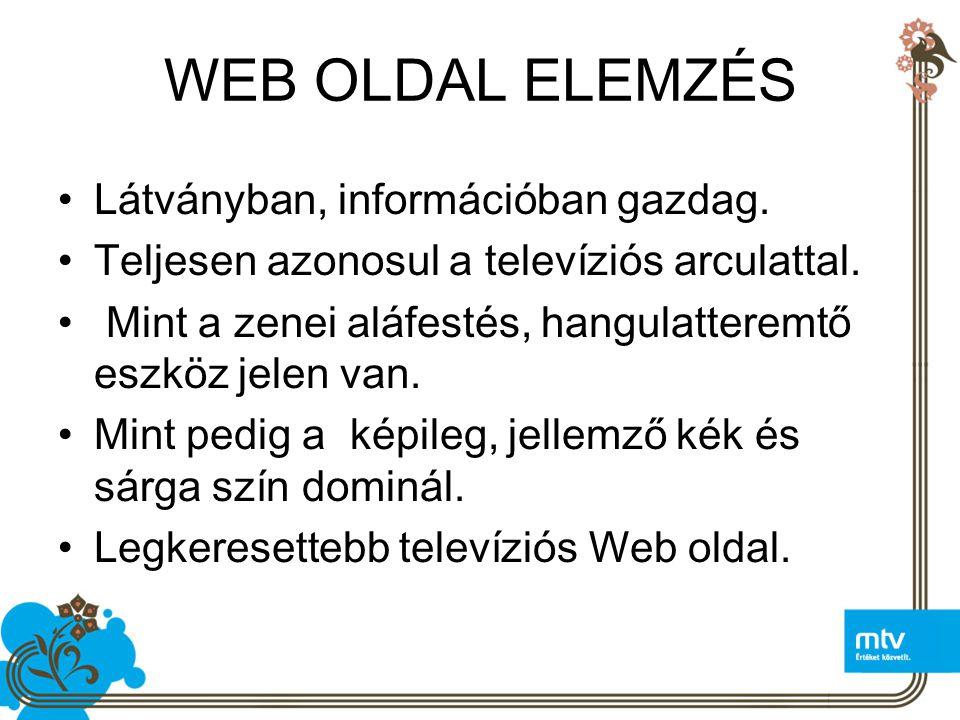 WEB OLDAL ELEMZÉS Látványban, információban gazdag.