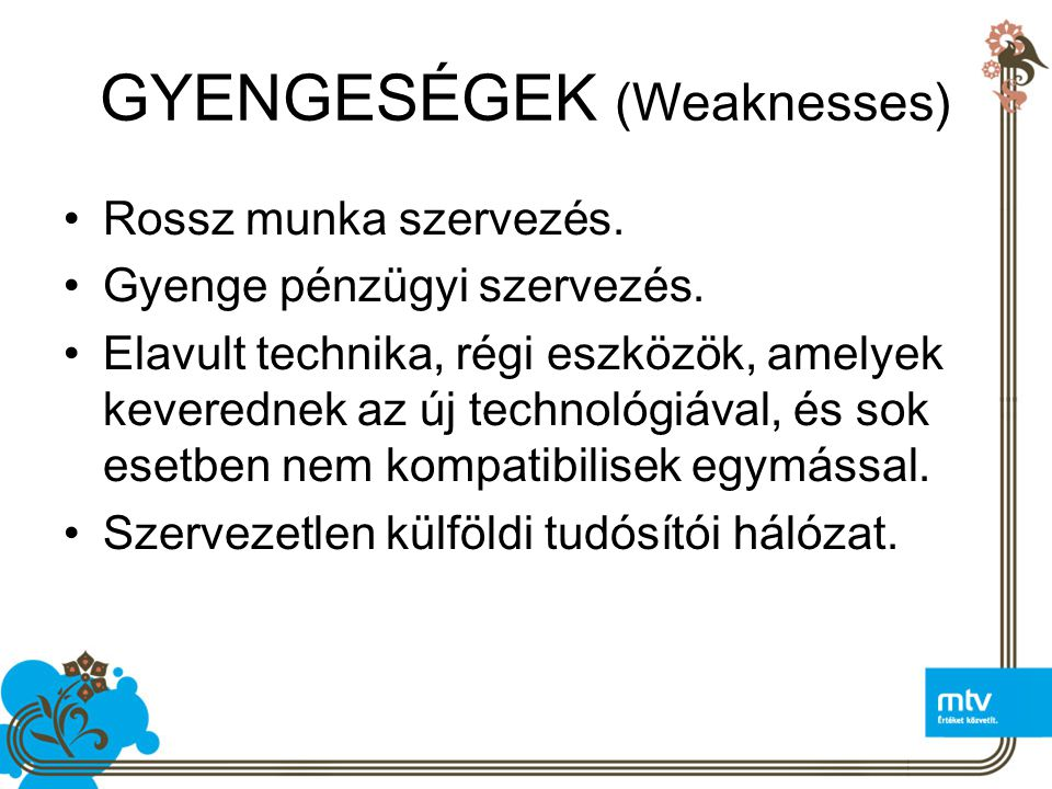 GYENGESÉGEK (Weaknesses)
