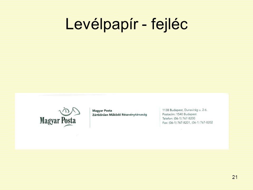 Levélpapír - fejléc