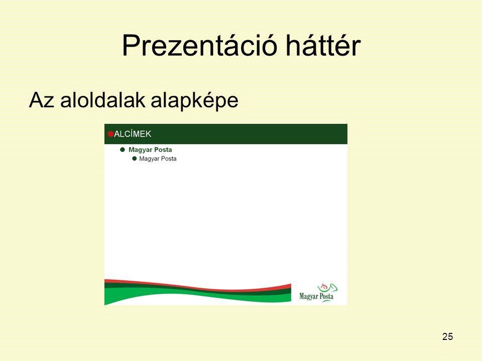 Prezentáció háttér Az aloldalak alapképe