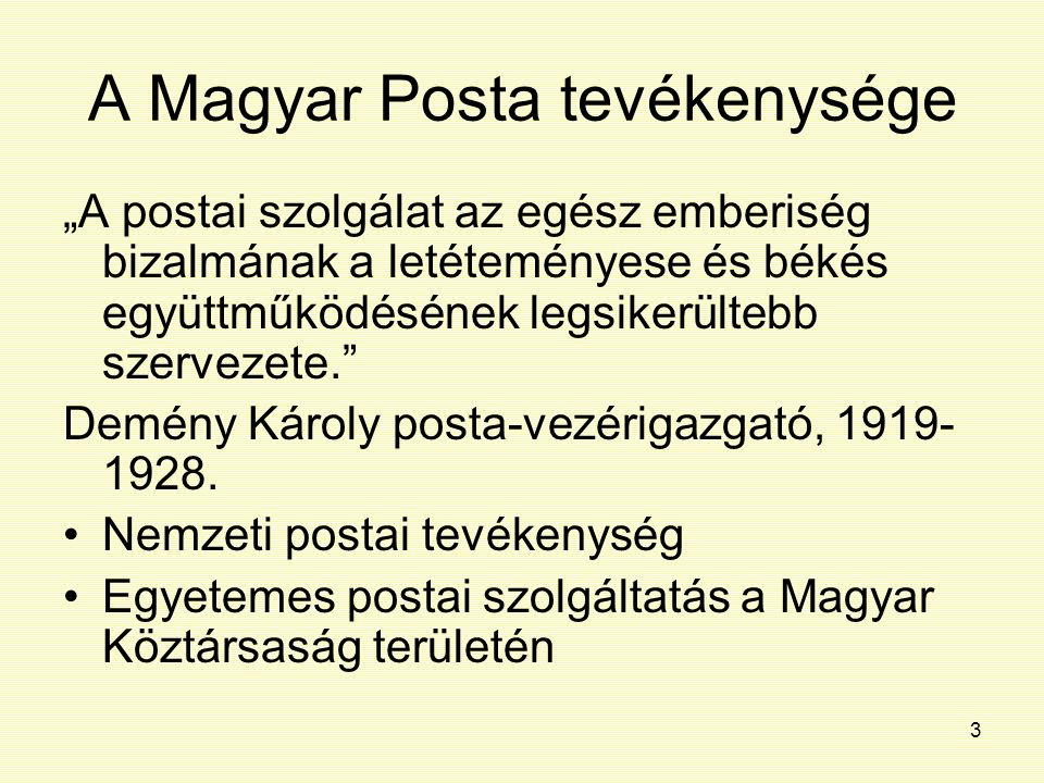 A Magyar Posta tevékenysége