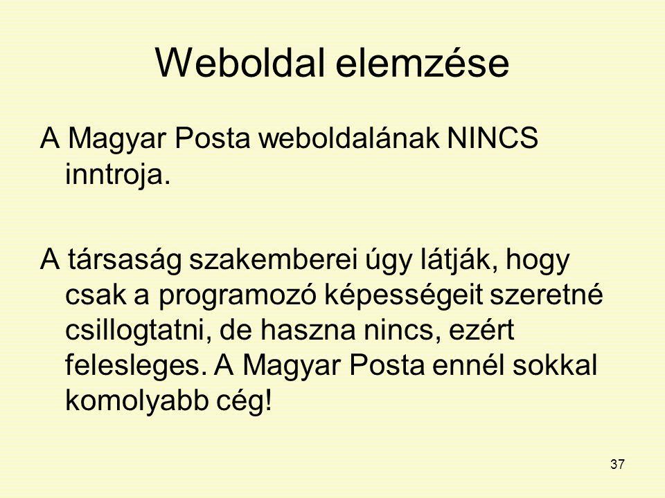 Weboldal elemzése A Magyar Posta weboldalának NINCS inntroja.