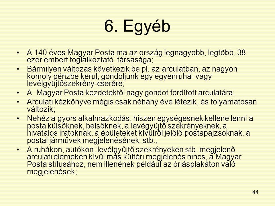 6. Egyéb A 140 éves Magyar Posta ma az ország legnagyobb, legtöbb, 38 ezer embert foglalkoztató társasága;