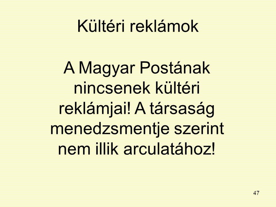 Kültéri reklámok A Magyar Postának nincsenek kültéri reklámjai.