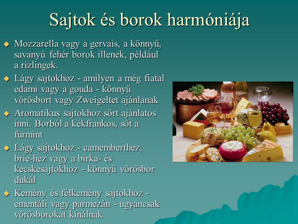 Sajtok és borok harmóniája
