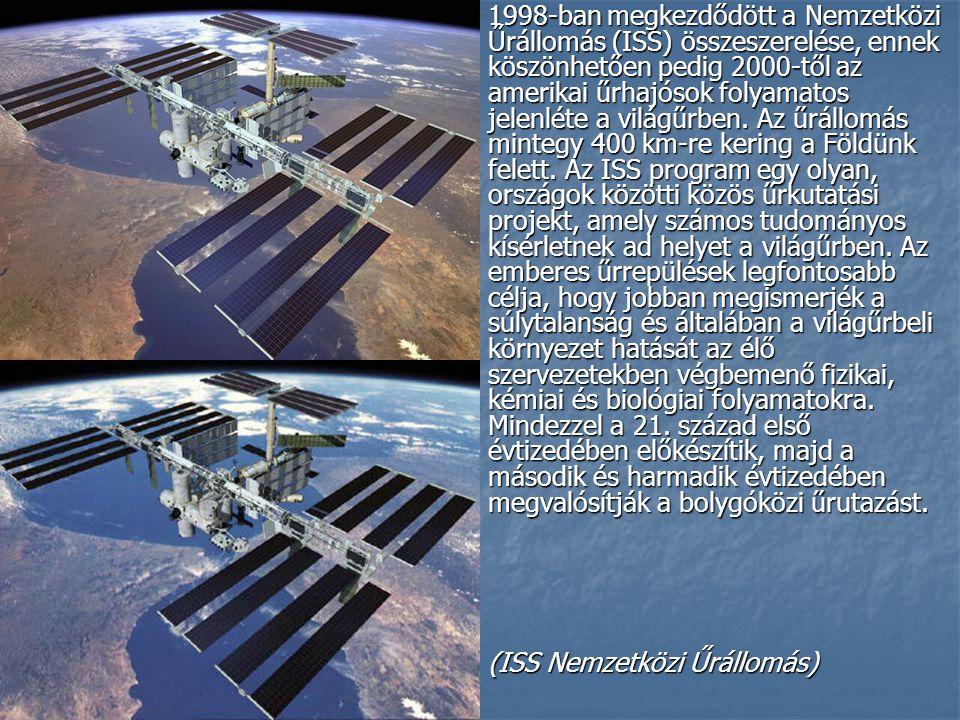 1998-ban megkezdődött a Nemzetközi Űrállomás (ISS) összeszerelése, ennek köszönhetően pedig 2000-től az amerikai űrhajósok folyamatos jelenléte a világűrben. Az űrállomás mintegy 400 km-re kering a Földünk felett. Az ISS program egy olyan, országok közötti közös űrkutatási projekt, amely számos tudományos kísérletnek ad helyet a világűrben. Az emberes űrrepülések legfontosabb célja, hogy jobban megismerjék a súlytalanság és általában a világűrbeli környezet hatását az élő szervezetekben végbemenő fizikai, kémiai és biológiai folyamatokra. Mindezzel a 21. század első évtizedében előkészítik, majd a második és harmadik évtizedében megvalósítják a bolygóközi űrutazást.