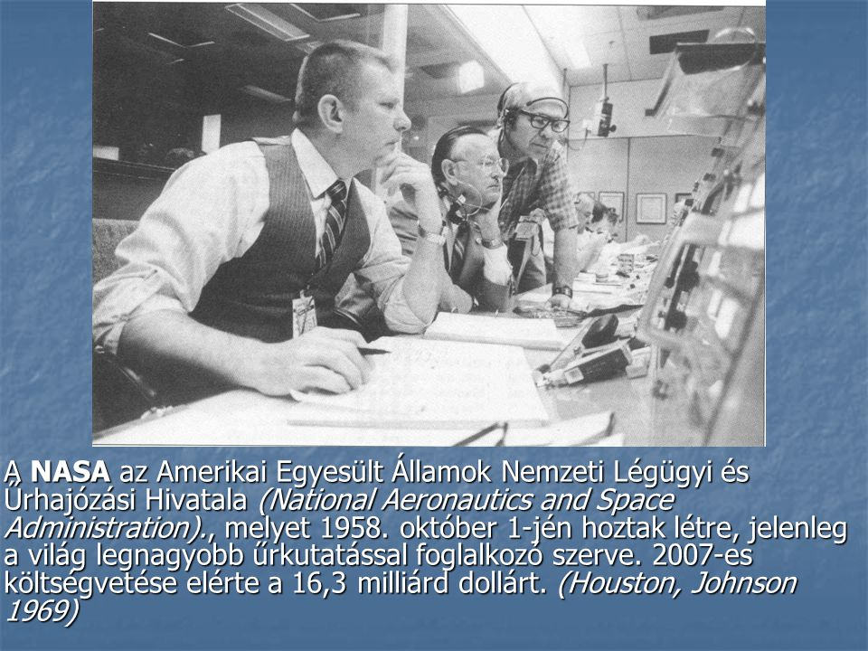 A NASA az Amerikai Egyesült Államok Nemzeti Légügyi és Űrhajózási Hivatala (National Aeronautics and Space Administration)., melyet 1958.