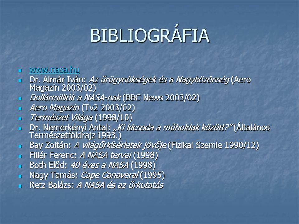 BIBLIOGRÁFIA www.nasa.hu