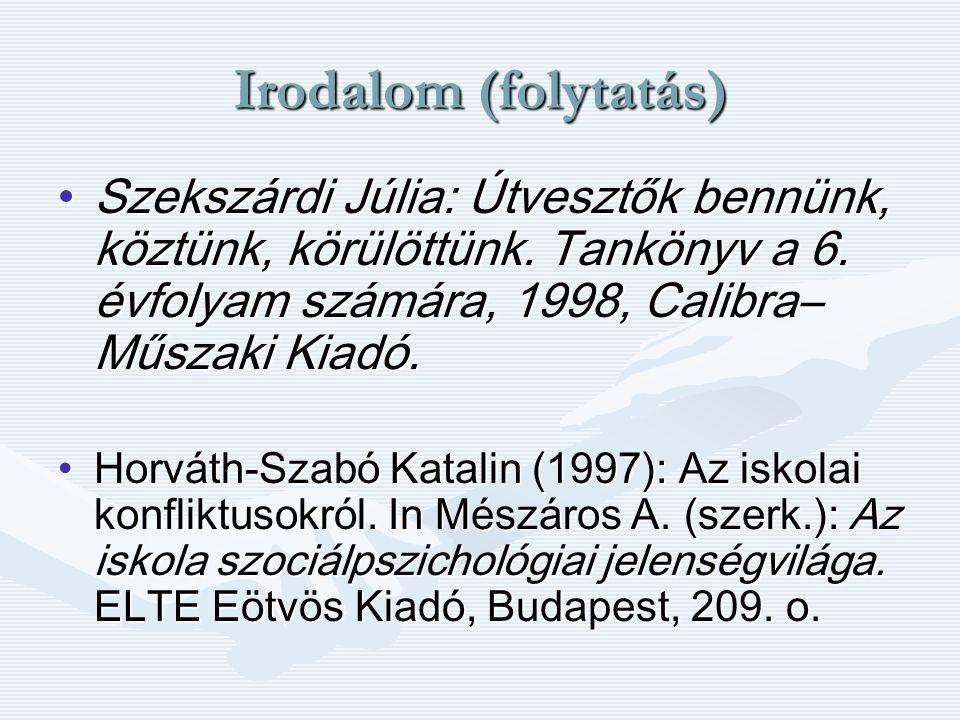 Irodalom (folytatás) Szekszárdi Júlia: Útvesztők bennünk, köztünk, körülöttünk. Tankönyv a 6. évfolyam számára, 1998, Calibra–Műszaki Kiadó.