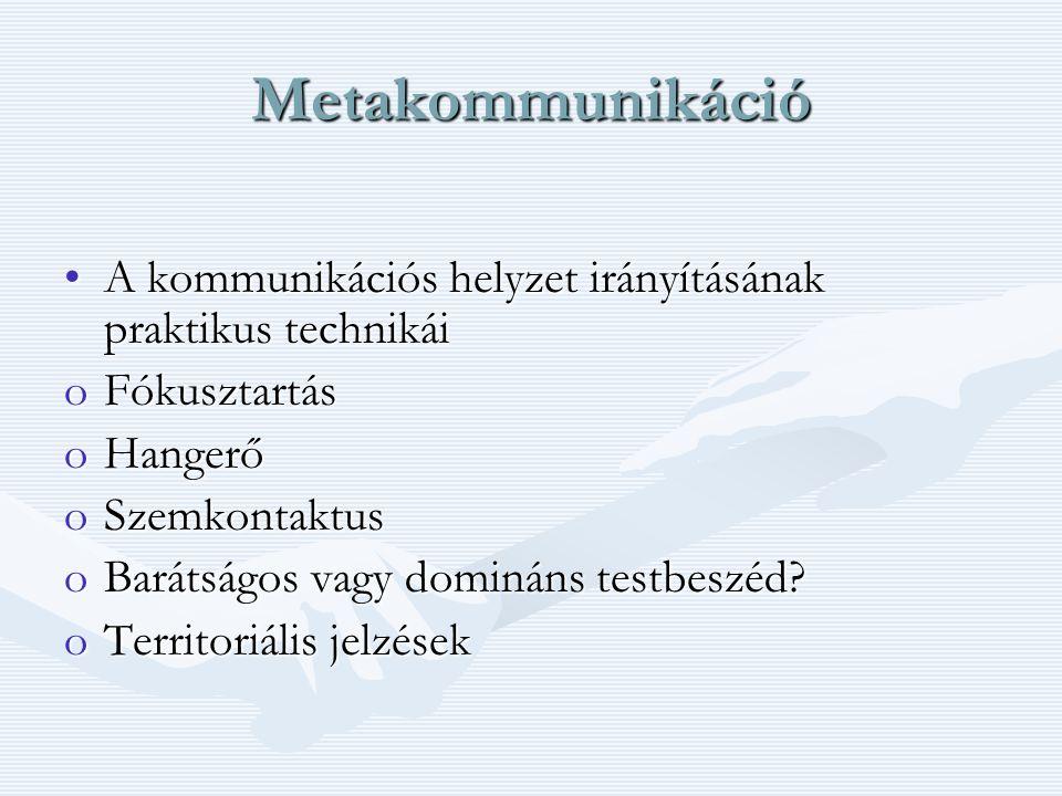 Metakommunikáció A kommunikációs helyzet irányításának praktikus technikái. Fókusztartás. Hangerő.