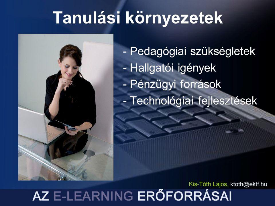 Tanulási környezetek - Pedagógiai szükségletek - Hallgatói igények