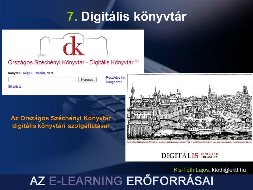 Az Országos Széchényi Könyvtár digitális könyvtári szolgáltatásai