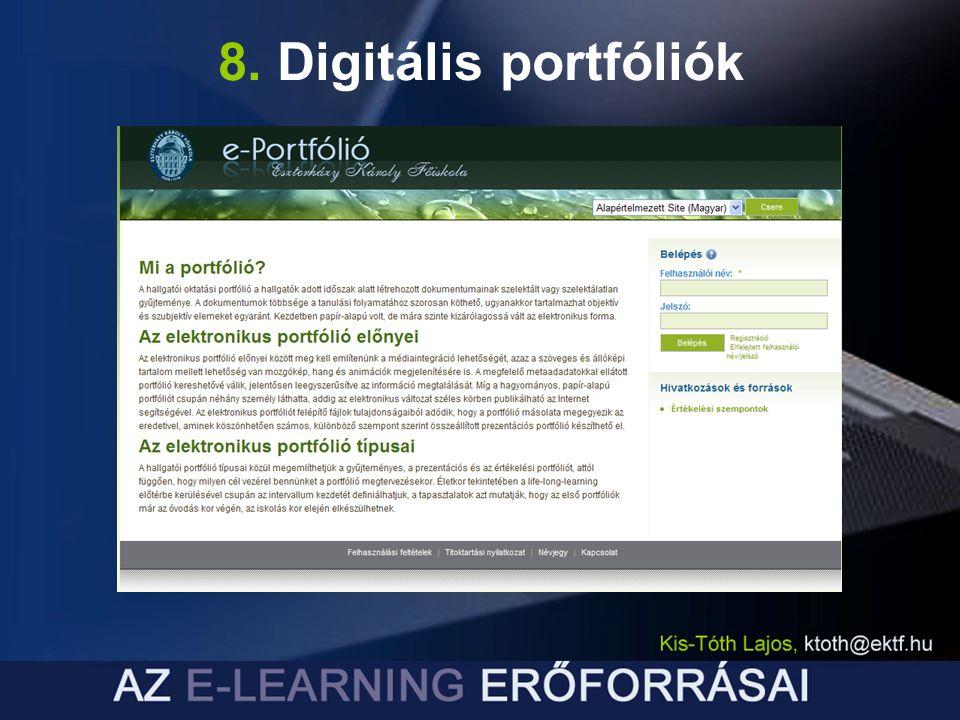 8. Digitális portfóliók