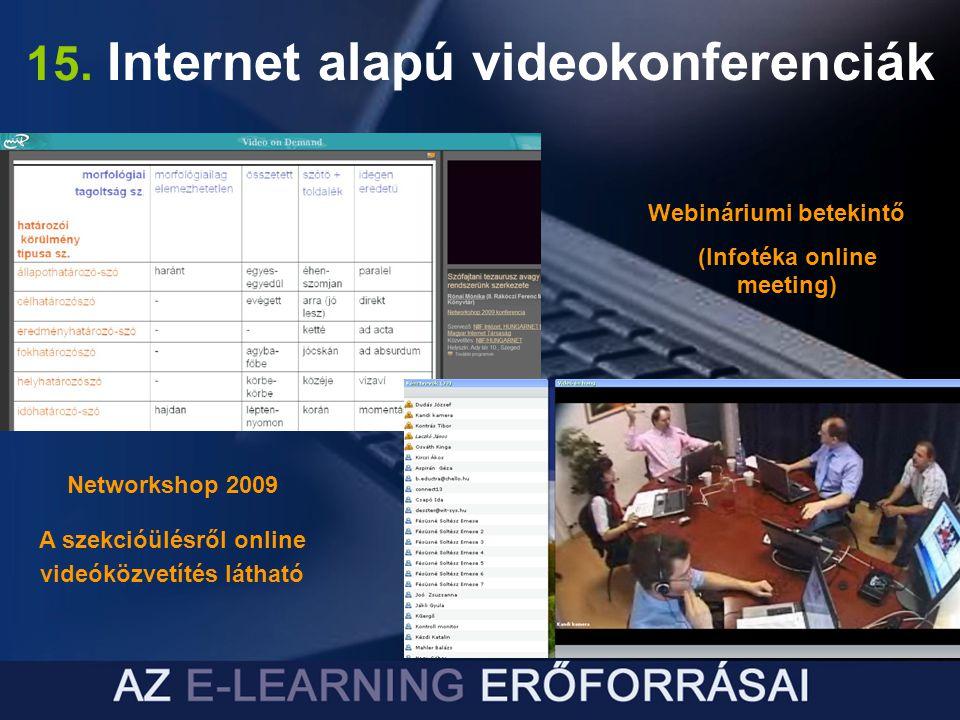 15. Internet alapú videokonferenciák