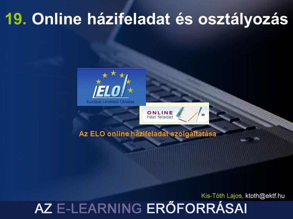 19. Online házifeladat és osztályozás