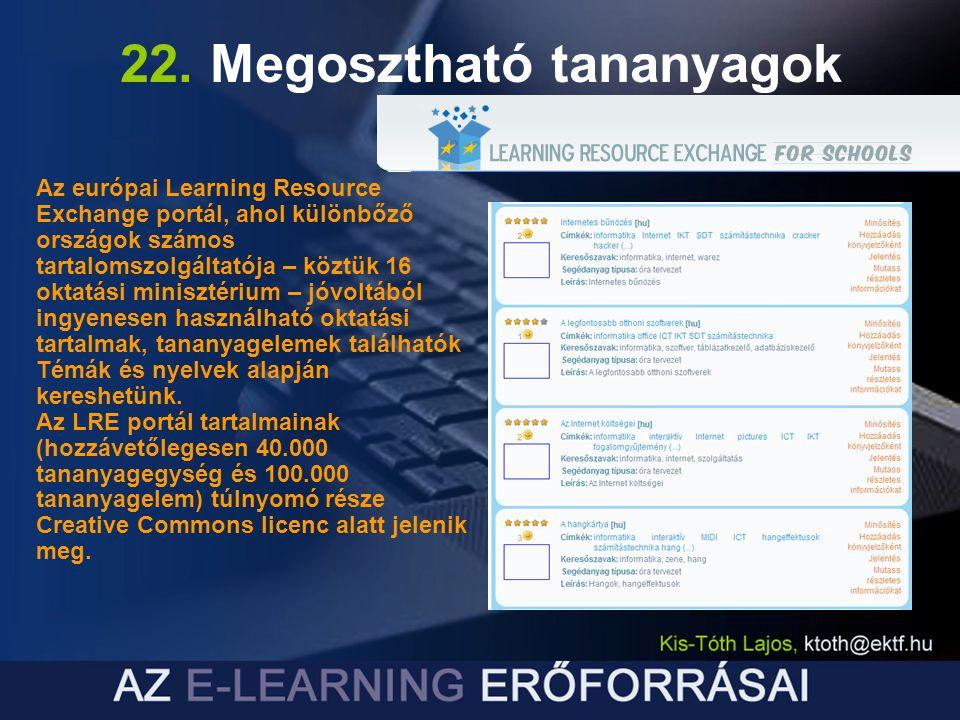 22. Megosztható tananyagok