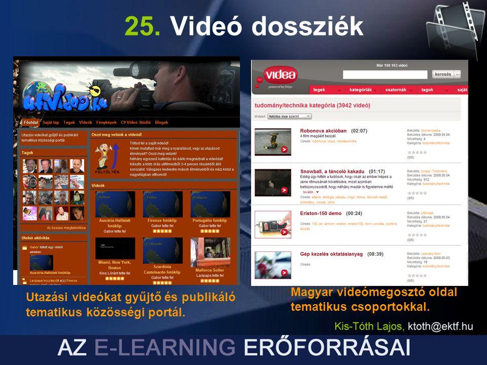 25. Videó dossziék Magyar videómegosztó oldal tematikus csoportokkal.