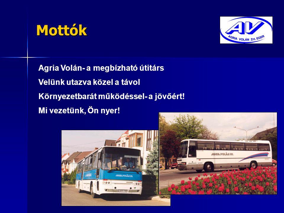 Mottók Agria Volán- a megbízható útitárs Velünk utazva közel a távol