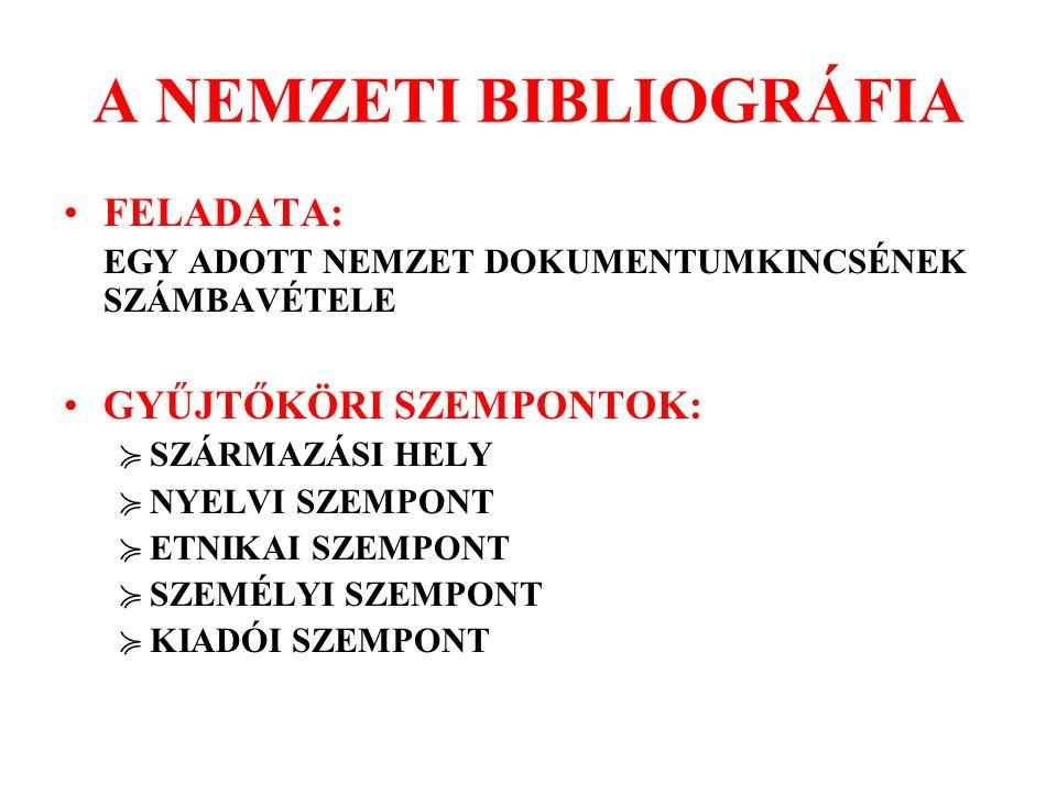 A NEMZETI BIBLIOGRÁFIA