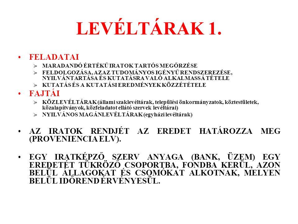 LEVÉLTÁRAK 1. FELADATAI FAJTÁI
