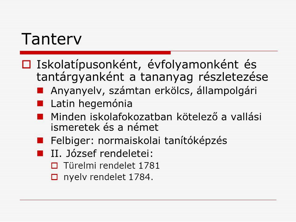 Tanterv Iskolatípusonként, évfolyamonként és tantárgyanként a tananyag részletezése. Anyanyelv, számtan erkölcs, állampolgári.