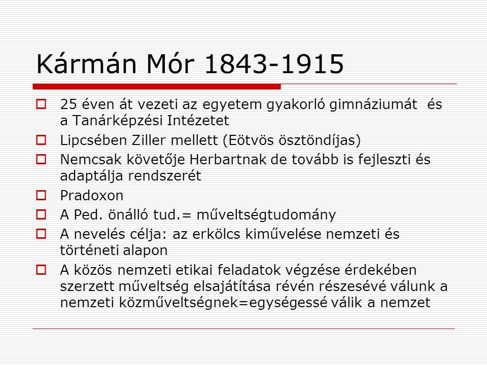 Kármán Mór 1843-1915 25 éven át vezeti az egyetem gyakorló gimnáziumát és a Tanárképzési Intézetet.
