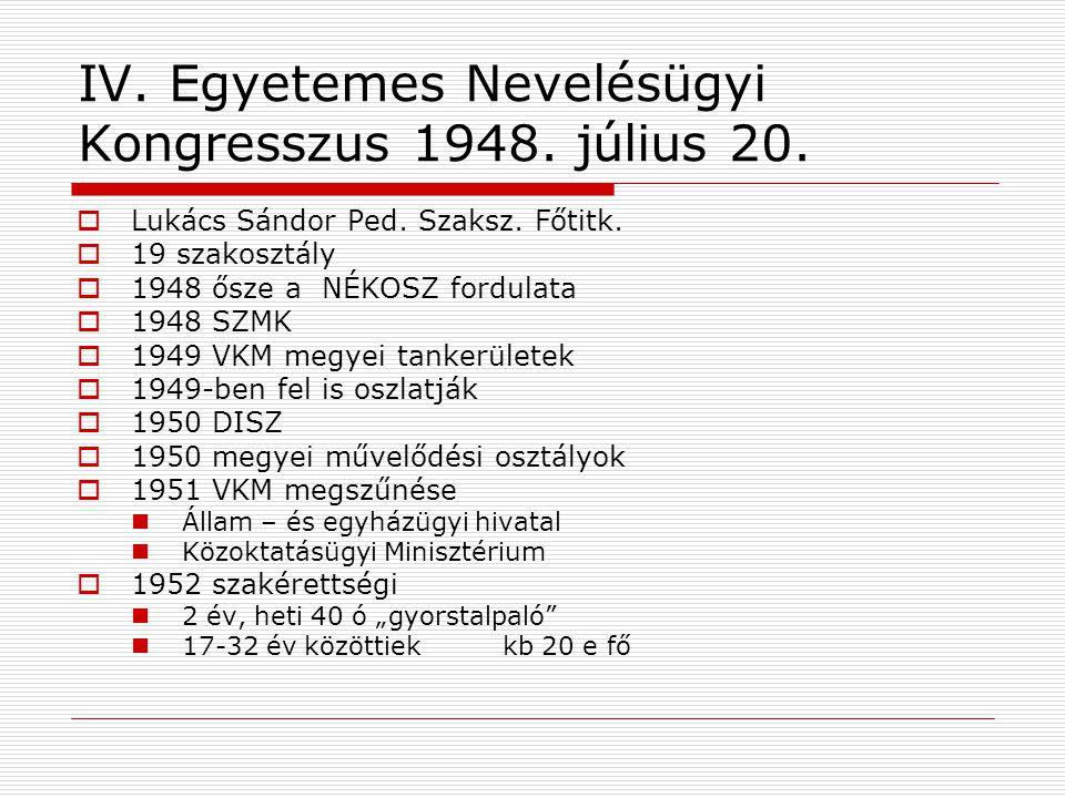 IV. Egyetemes Nevelésügyi Kongresszus 1948. július 20.