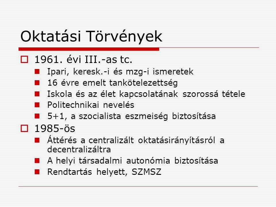 Oktatási Törvények 1961. évi III.-as tc. 1985-ös